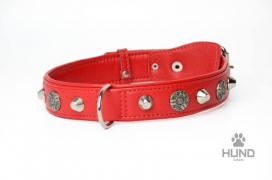 Selling collars 4-layer leather 30 mm with decoration
